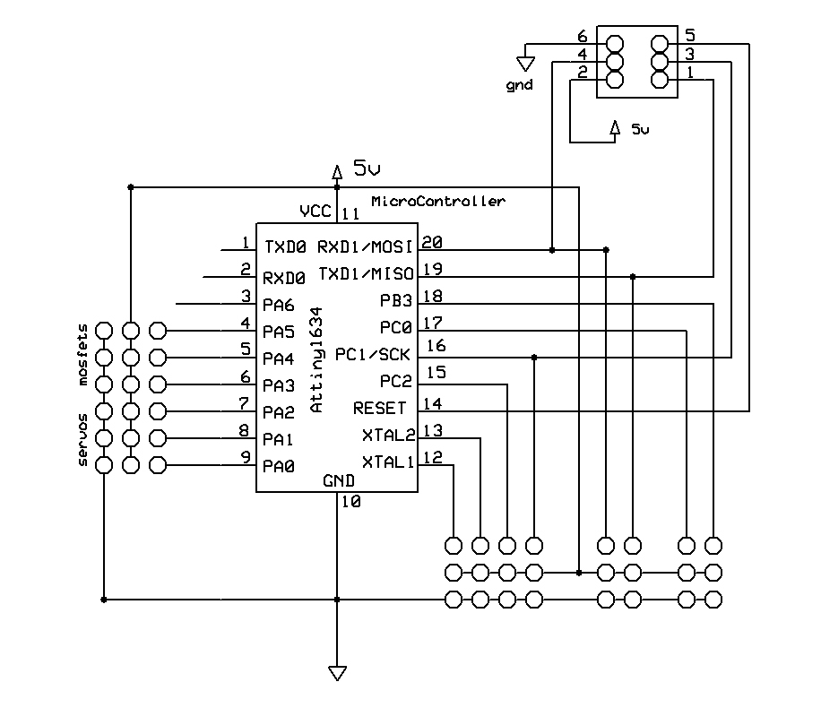 basic attiny 1634 circuit with programmer port martinsant netthis is the base circuit i\u0027m using for all my designs these days ridiculously simple the tx ports at the top of the chip can be used to export debug